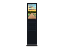 Floor standing digital signage with magazine holder
